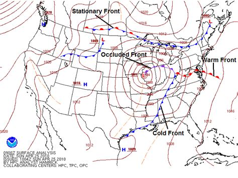front occluded fronts cold warm surface weather map types stationary meteorology analysis labeled annotated 09z april