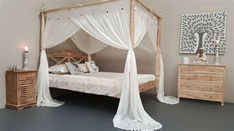 Natural Mosquito Net Four Poster Bed Canopy Curtain King