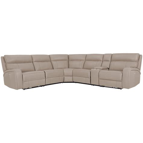 rhett taupe microfiber small  arm power reclining sectional