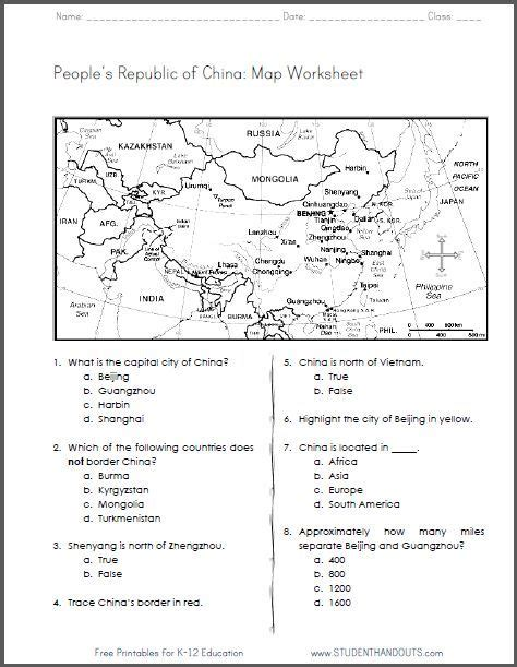 china free printable map worksheet for grades 4 6 ccss for geography social studies http