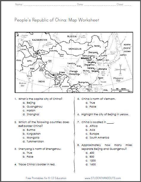 china free printable map worksheet for grades 4 6 ccss