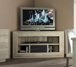 Meuble D Angle Moderne : meuble tv d 39 angle chne gris et anthracite laqu ~ Teatrodelosmanantiales.com Idées de Décoration