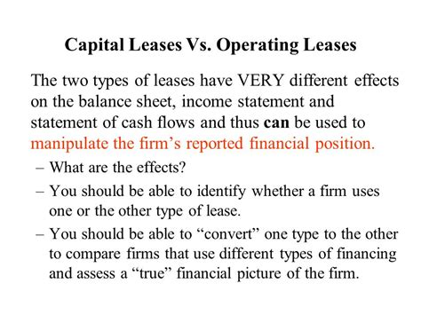 Capital Leases Vs Operating Leases  Ppt Video Online