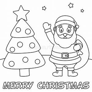 Coloring Christmas Card With Santa Claus Stock Vector ...