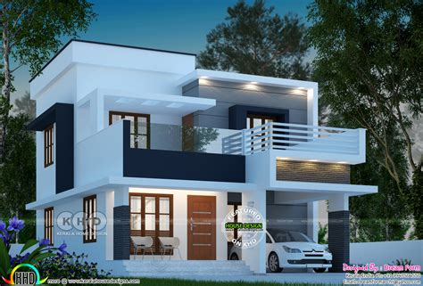 1585 square feet 3 bedroom modern flat roof home - Kerala
