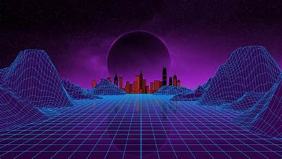 Synthwave Moon Landscape Mountains Cityscape Dual Widescreen
