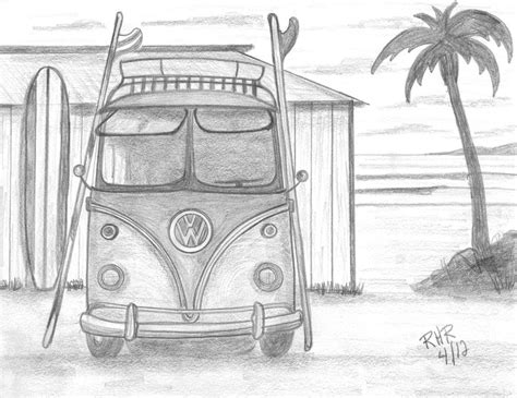 volkswagen bus drawing vw surfing bus drawing by ray ratzlaff