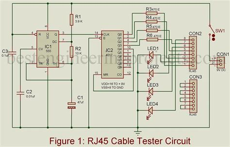 rj cable tester circuit  engineering projects