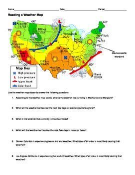 ngss ms hs weather and climate reading a weather map worksheet obc general teaching ideas