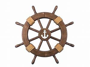 Buy Rustic Wood Finish Decorative Ship Wheel with Anchor