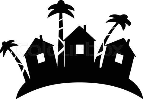summer bungalow icon  outline design beach hut logotype