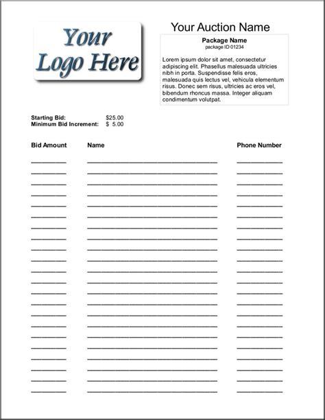 silent auction bid sheet template  silent auction