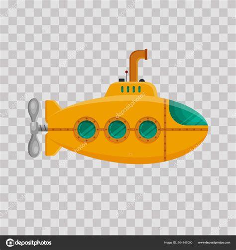 gelben  boot mit periskop auf transparentem hintergrund