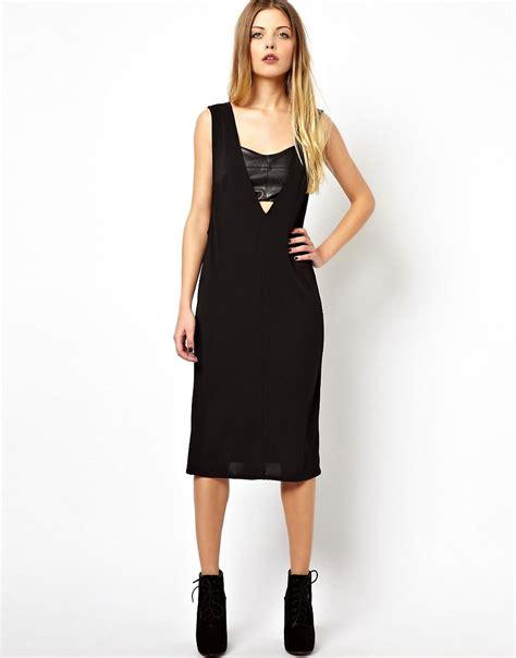 asos drape dress asos asos drape dress with leather look insert at asos