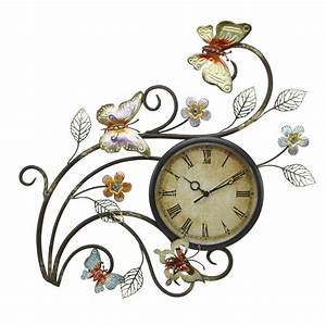 Butterfly Wall Clock Contemporary Metal Wall Art With Clock