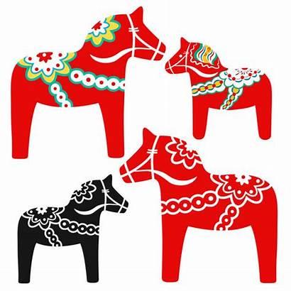 Dala Horse Sweden Symbol Dalarna Vector Illustration