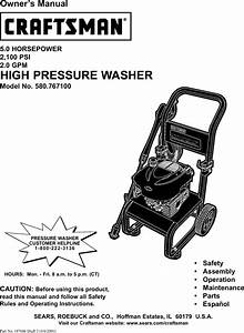 Craftsman 580767100 User Manual Power Washer Manuals And