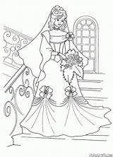 Coloring Bride Stairs Colorkid Brides sketch template