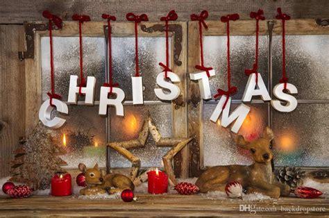 2019 merry christmas horizontal backdrops vintage window candle light star deer kids