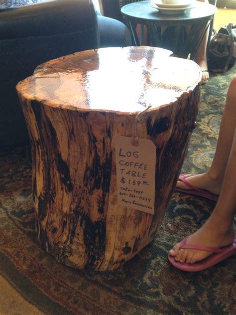 cottonwood log coffee table  clear glaze log coffee