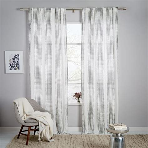 Navy And White Striped Curtains West Elm by Striped Ikat Curtain Platinum West Elm