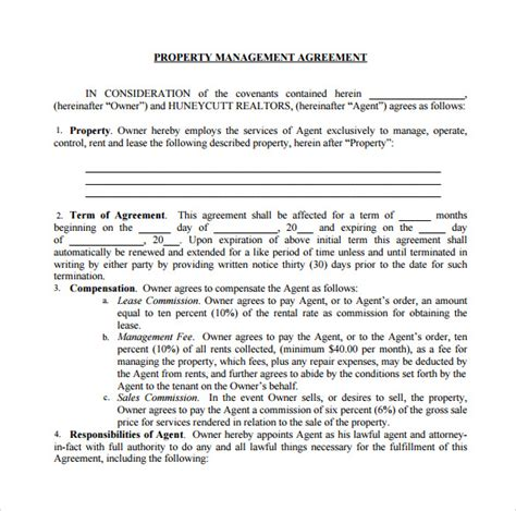 management agreements   sample templates