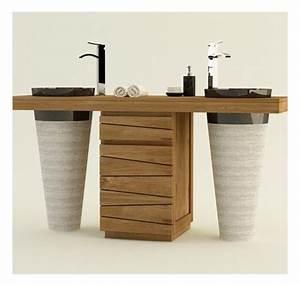 meuble de salle de bain en teck massif timare mobilier With destockage meuble salle de bain bois