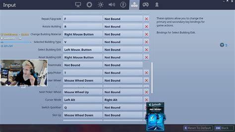ninja shows   keyboard settings  fortnite