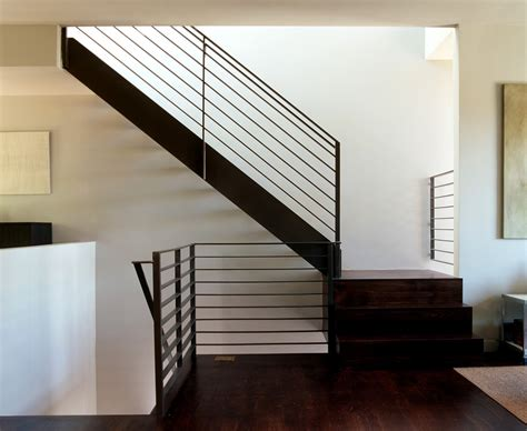 Exposed Basement Ceiling Lighting Ideas by Modern Stair Railing Staircase Modern With Open Treads