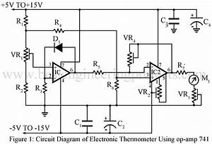 electronics thermometer using op amp 741 ic engineering With op amp diagram