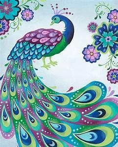 Enchanted Peacock Canvas Wall Art | Peacock painting ...
