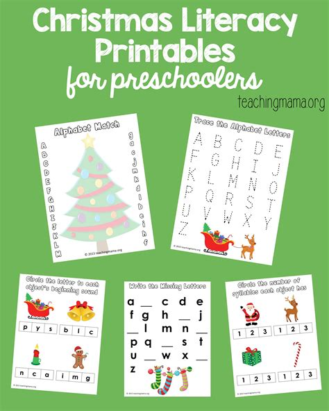 literacy printables for preschoolers 685 | Christmas Literacy Printables Pin