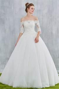 vintage robe de mariee epaules nu avec manches trois quart With persun robe de mariée