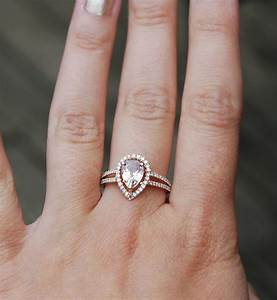 Modified peach champagne tear drop sapphire and rose gold for Wedding band for teardrop engagement ring