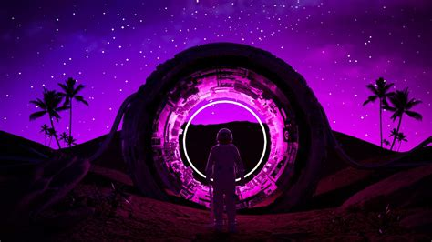 wallpaper astronaut ring neon glow dark hd picture image