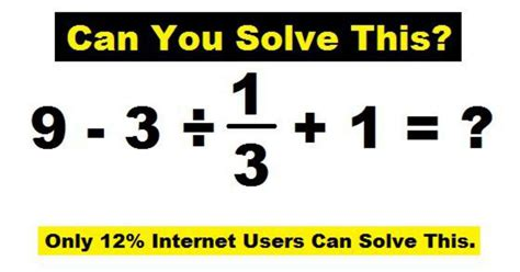 Only 12% People Can Solve This Math's Equation Can You Solve This?