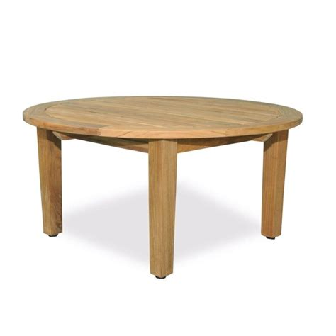 """For longer sofas, oval tables can be a smart choice. 36"""" Natural Teak Round Outdoor Patio Wooden Coffee Table ..."""