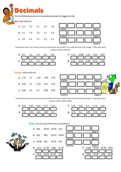 ordering decimals worksheet  floppityboppit teaching