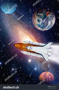 Outer Space Shuttle Rocket Launch Spaceship Stock Photo ...