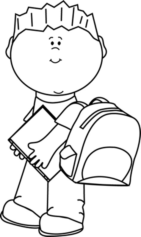 going to school clipart black and white black and white boy carrying book to school clip
