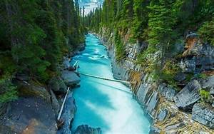 Nature, Landscape, Canada, Forest, River, Rock, Water, Green, Trees, Turquoise, Wallpapers, Hd