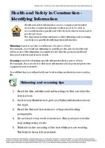 skimming  scanning information worksheet  higher ed