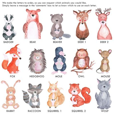 watercolour woodland animals letters  wooden letters company