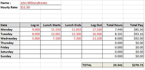 Timesheet With Meal Break Template by Need A Timesheet Template To Track Your Hours Here Are 12