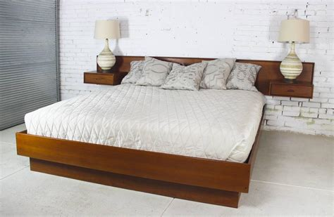 Vintage Scandinavian Modern Teak King Platform Bed With