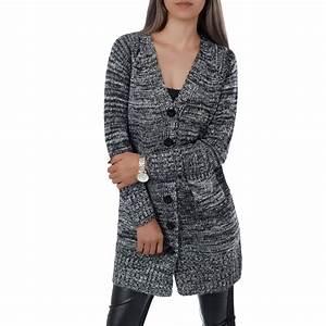 Gilet Long Noir Femme : vetement femme fashion long gilet chin noir ~ Voncanada.com Idées de Décoration