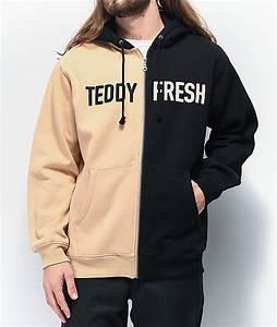 Color Fresh Color Chart Teddy Fresh Split Black Tan Hoodie Zumiez