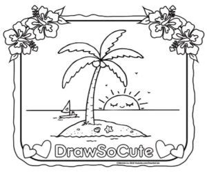 coloring page   island  coconut tree draw