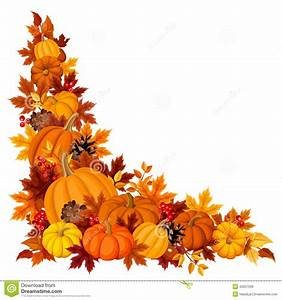 Corner Background With Pumpkins And Autumn Leaves. Vector ...