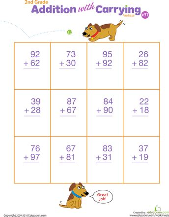 double digits practice vertical addition  regrouping